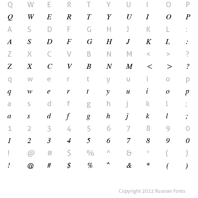 Character Map of CG Times Cyr Italic